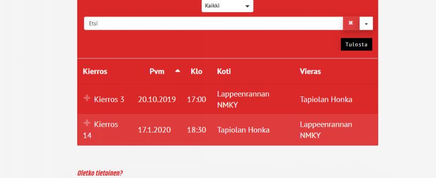 Namikan sarjaohjelma Miehet 1B – divisioona 2019 –2020